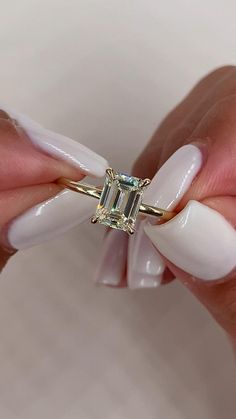How pretty is this 1.30 carat Emerald cut diamond engagement ring. A true beauty. Engagement ring goals Emerald Cut Diamond Engagement Ring, Emerald Cut Rings, Beautiful Engagement Rings, Engagement Ring Cuts, Emerald Cut Diamonds, Diamond Cuts, Emerald Cut Wedding Band, Bold Rings, Ruby Rings