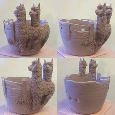 """Alpaca yarn bowl (7"""" diameter/unfired) made today from white earthenware clay. It was when I was modelling the faces that I thought how similar their faces are to that of the Camel. Anyway ..this design will be available as a made to order item at earthwoolfire.etsy.com in a few weeks."""