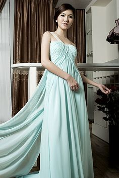 One Shoulder Floor Length Chiffon Dress with Panel Train