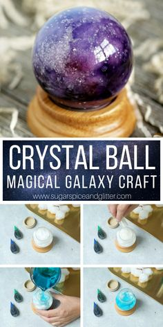 This Magical Crystal Ball craft for kids only takes 10 minutes to make! Perfect for a Harry Potter movie night, Wizard of Oz, Haunted Mansion or even a Labyrinth theme. An easy party craft for kids crafts Magical Crystal Ball Craft Pot Mason Diy, Mason Jar Crafts, Mason Jars, Halloween Crafts, Christmas Crafts, Good Witch Halloween, Halloween Decorations, Diy Niños Manualidades, Galaxy Crafts