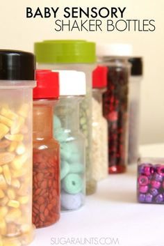 Baby Sensory bottles using recycled spice jars