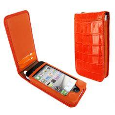 Piel Frama 525 Orange Crocodile Magnetic Leather Case for Apple iPhone 4 / 4S #PielFramaCases #AppleiPhone4SCase #OrangeiPhone4SCase