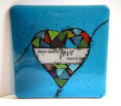 Mosaic Heart Fused Glass Decorative Tile by MountinDesigns on Etsy