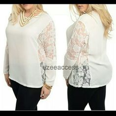 """New Plus size Ivory top blouse shirt lace sheer Brand new plus size Ivory top blouse Long sleeves semi Sheer fabric Lightweight fabric. lace insert along sides and sleeves   MEASUREMENTS:  Total Length = 27""""  《Price is firm unless bundled 》 Tops Blouses"""