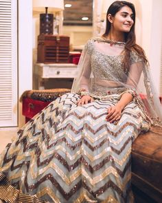 Chevron Lehnga by Divaani Party Wear Dresses, Bridal Dresses, Dress Outfits, Fashion Dresses, Eid Dresses, Disney Dresses, Women's Fashion, Indian Attire, Indian Outfits
