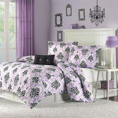 Twin / Twin XL size Purple Damask Design Comforter Set