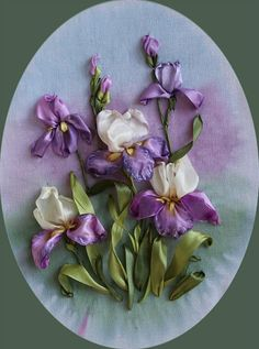 Iris silk ribbon embroidery
