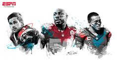 ESPN - NFL portraits on Illustration Served