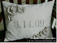 Save the Date Custom Pillow - with Fabric Rosettes via Etsy