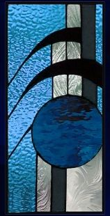 abstract stained glass window panel - AGlassMenagerie.net