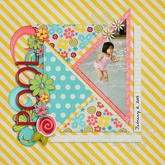 #papercraft #scrapbook #layout Love the triangles on this!  That's not a shape I see used very often in layouts.