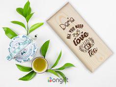 """Cutie din lemn pentru plicuri ceai personalizata cu nume si textul """"All you need is love and tea"""" All You Need Is Love, Tea, Tableware, Dinnerware, Tablewares, Dishes, Place Settings, Teas"""