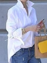 Casual solid lapel collar slit blouses - shopingnova - Fits your own style . - Casual-Solid-Lapel-Collar-Slit-Blouses – shopingnova – Fits your own style instead of hours of - Mode Outfits, Fashion Outfits, Trendy Fashion, Women's Fashion, Fashion Styles, Club Fashion, Fashion Jewelry, Casual Shirts, Casual Outfits