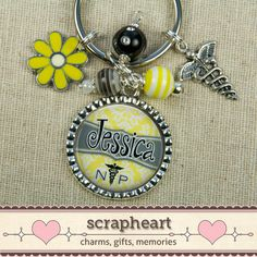 NP PERSONALIZED Name Key Ring, Caduceus, Yellow and Gray, Nurse Practitioner, Hospital Staff, Nursing, Graduation Gift, Valentine's Day on Etsy, $20.50