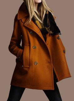 Stylish Turn-Down Neck Long Sleeve Double-Breasted Pocket Design Coat For Women in ORANGE, EARTHY, BLACK