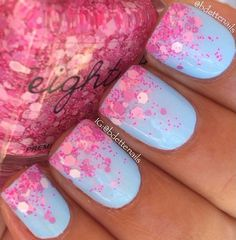 "Gradient using ""Love Dust"" Pink Glitter Bomb over ""Powder Puff"" Sky Blue Creme Nails"