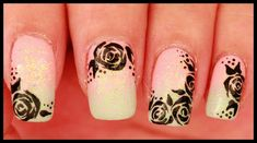 Black Roses on Pastel Ombre nail art