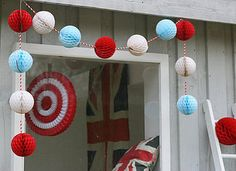Cute and cheap decor for inside and outside...or could do the tissue pom pom balls on a string