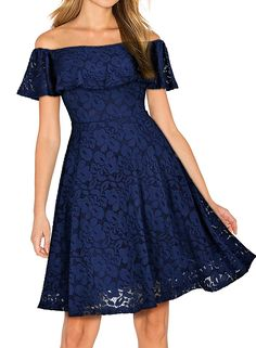 Miusol Women's Vintage Off Shoulder Floral Lace Evening Party Dress