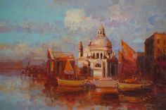 Venice in Gold Original oil painting  Handmade artwork One of a kind Large Size