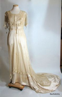 antique Edwardian wedding dress- glass beads, champagne silk and lace (1910-1915)