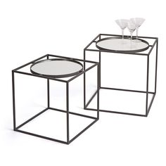 Taking inspiration from simple cube design, the Hip Vintage Fonzarelli End Tables - Set of 2 deliver an edgy modern look. Circular tops fit into. End Table Sets, End Tables With Storage, Side Tables, Metal Nesting Tables, Cube Design, Mirror Set, Round Mirrors, Contemporary Furniture, Living Room Furniture
