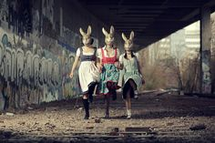i did this for a friend. she creates the dirndls herself and this a pics for her website (that still is under cunstruction) shoot was fun despite the bad wheather Animal Masks, Animal Heads, Creepy Dude, Weird, Year Of The Rabbit, Bunny Mask, Looks Halloween, Rabbit Art, Rabbit Head