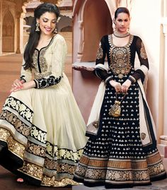 Cream and Pink Anarkali Suit Combo 27409