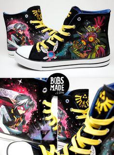 Majora's Mask custom shoes by Bobsmade (elles sont sublimes! Custom Shoes, Custom Clothes, Geek Mode, Majora Mask, Otaku, Nintendo, The Legend Of Zelda, Shoe Art, Cool Stuff