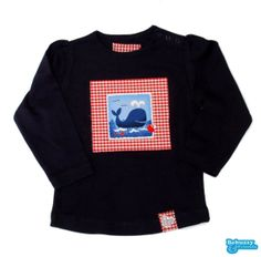 Sea_02 - Cotton's dark blue long sleeve for girl with a nice whale / Camisola de menina azul escura com uma simpática baleia by BebuzzyandFriends, €15.00