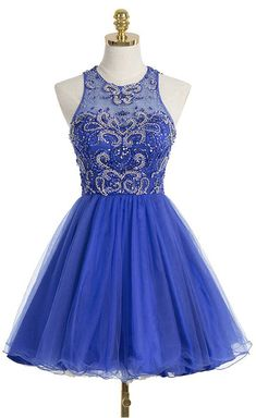 Royal Blue Prom Dress,Sweet 16 Dress,Cocktail Dress 2017,Short Organza Scoop Prom Gown,Short Homecoming Dresses,graduation dress