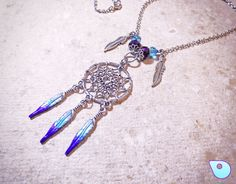 Gift for women, Dreamcatcher necklace, Gypsy necklace, Gypsy jewelry, Wiccan jewelry, Boho necklace, Boho chic jewelry, Feather necklace by CervelleDoiseau on Etsy