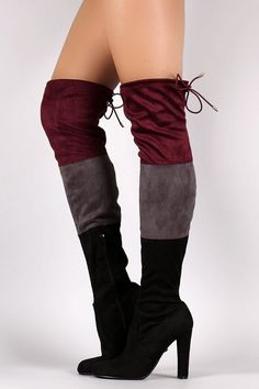07e77dcef32e5a Suede Tri-color Over-The-Knee Chunky Heel Boots