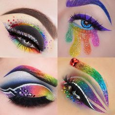 We can& get over these mesmerizing rainbow makeup looks. - We can& get over these mesmerizing rainbow makeup looks. Source by hellogiggles Ankara Nakliyat Makeup Eye Looks, Eye Makeup Art, Crazy Makeup, Eye Art, Cute Makeup, Pretty Makeup, Eyeshadow Makeup, Makeup Quiz, Awesome Makeup