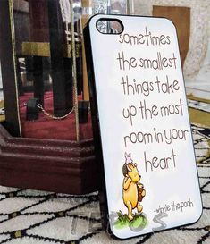 Winnie The Pooh quotes: Sometimes the smallest things take up the most room in your heart. For apple #iphone 4/4s case, iphone 5/5s case,iphone 5c case, samsung s3 i9300 case, samsung s4 i9500 case in TEPOS