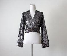 vintage 1970's silver sequin wrap sweater par 1919vintage sur Etsy, $44.00
