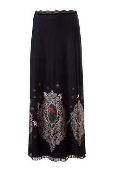 Michal Negrin Vintage Long Skirt of Black Chiffon Lycra