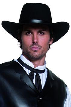 Sombrero negro de vaquero de lujo para adulto   Vegaoo a0940f5faa1