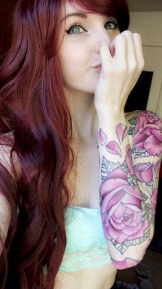 Full Sleeve Hot Women Tattoo Design, Women Sleeve With Blossom Flowers Tattoo, Tattoo Flowers With Cute Girls Sleeve, Sleeve With Pink Flowers Tattoo