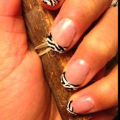 Nails: zebra print tips