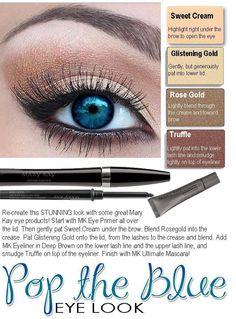 mary kay looks for blue eyes Mary Kay Eyeshadow, Eyeshadow For Blue Eyes, Mary Kay Makeup, Blue Eye Makeup, Eye Makeup Tips, Skin Makeup, Makeup Salon, Makeup Brushes, Mary Kay Cosmetics