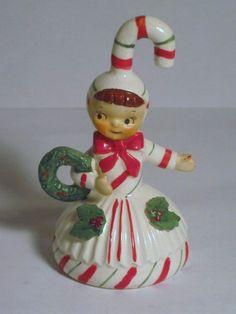 2 Available Vintage Christmas Candy Cane Pixie Elf Bell Porcelain Figurine Lefton Ornament Decoration Japan Wreath Holly Leaves Shopper Girl...