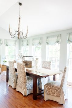 Morning room, Dining room, slipcover, window treatments