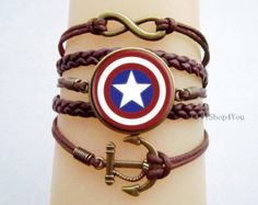American captain bracelet, Captain America jewelry , unique gifts, anniversary gifts, anchor bracelet, glass cabochon bracelet
