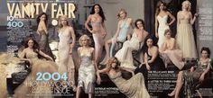2004  From left: Julianne Moore, Jennifer Connelly, Gwyneth Paltrow, Naomi Watts, Salma Hayek, Jennifer Aniston, Kirsten Dunst, Diane Lane, Lucy Liu, Hilary Swank, Alison Lohman, Scarlett Johansson, and Maggie Gyllenhaal.