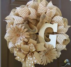 burlap deco mesh personalized daisy neutral wreath