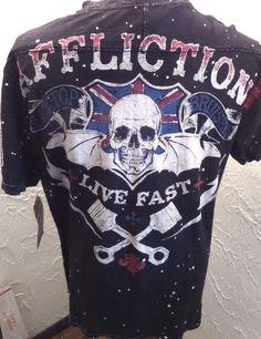 NWT AFFLICTION American Customs Blacktop Bruisers Shirt Black Live Fast Sz XL  #Affliction #GraphicTee
