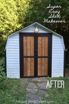 ugly to Farmhouse Shed Makeover on a Budget F&;ugly to Farmhouse Shed Makeove.ugly to Farmhouse Shed Makeover on a Budget F&;ugly to Farmhouse Shed Makeover on a Budget The D - Metal Shed, Wood Shed, Home Improvement Loans, Home Improvement Projects, Mobiles, Farmhouse Sheds, Farmhouse Style, Shed Makeover, Backyard Makeover