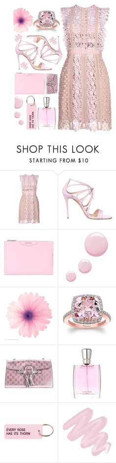 """""""In the Pink"""" by sunnydays4everkh ❤ liked on Polyvore featuring self-portrait, Casadei, Givenchy, Topshop, Gucci, Lancôme, Various Projects and Obsessive Compulsive Cosmetics"""