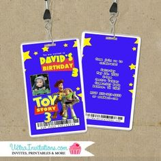 Toy Story VIP Backstage Pass Invitations with your child's photo or not. Custom made to match your theme party decor. Toy Story Invitations, Vip Pass, Toy Story 3, Toy Story Birthday, Backstage, Party Themes, Toys, Activity Toys, Clearance Toys
